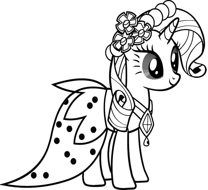 рарити пони в короне раскраски цветочки для девочек