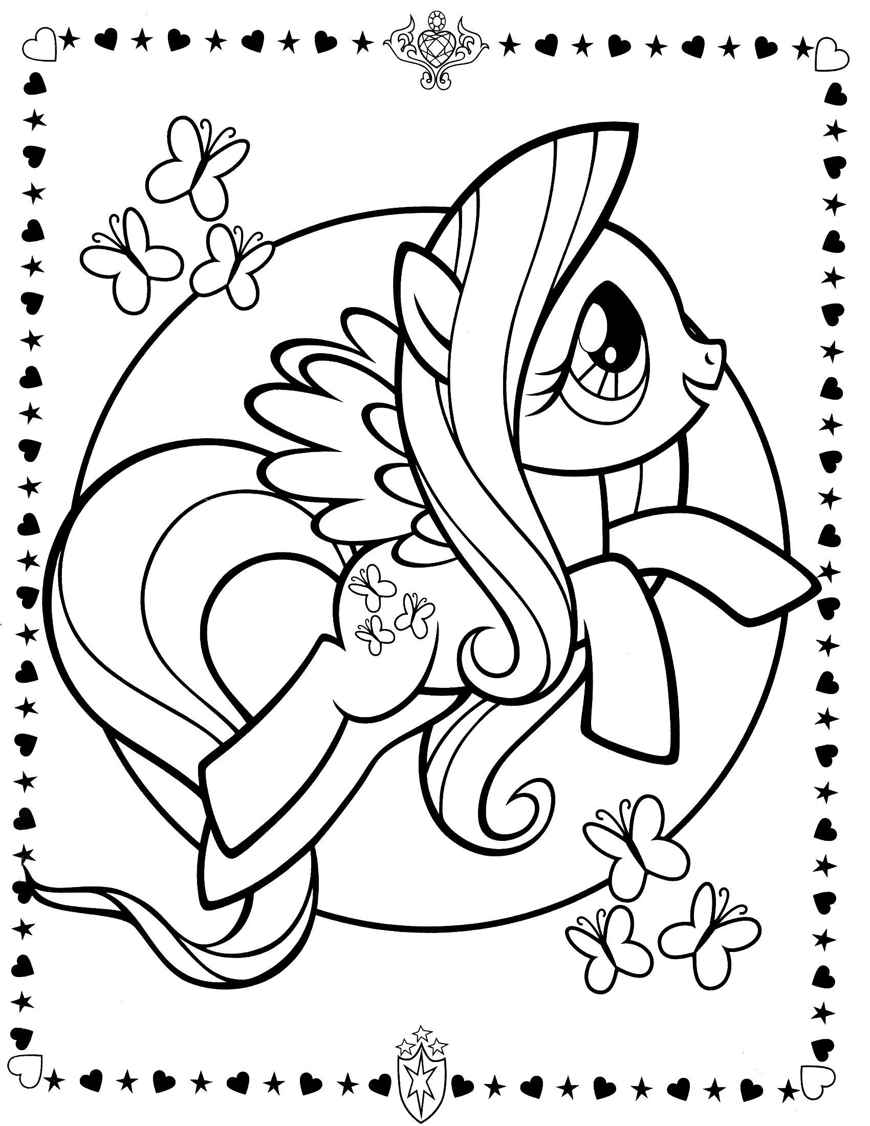 Пони в бабочку Раскраски с цветами распечатать бесплатно