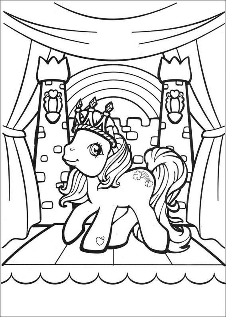 Пони в короне Раскраски с цветами распечатать бесплатно