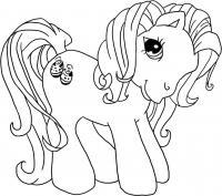 Красивая пони Раскраски с цветами распечатать бесплатно