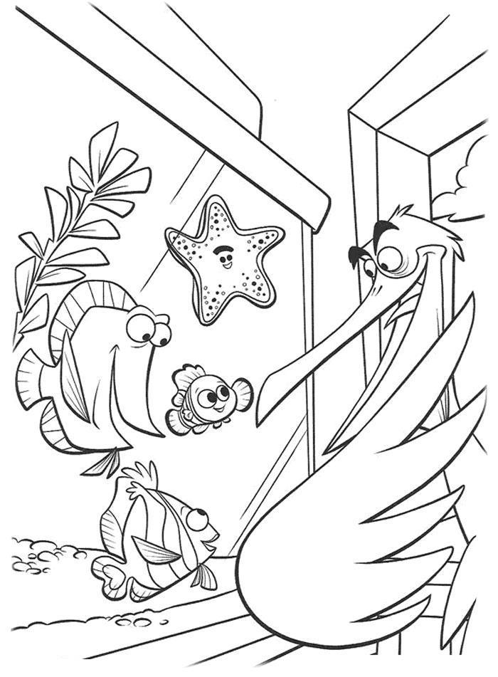 Рыбки в аквариуме и пеликан Раскраски для девочек распечатать