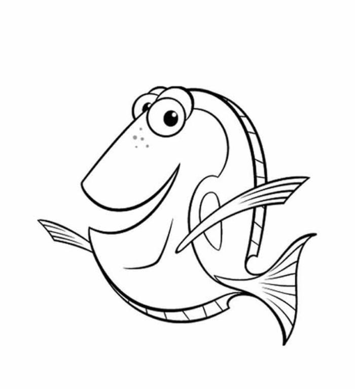 Веселая рыбка дори Раскраски для девочек распечатать
