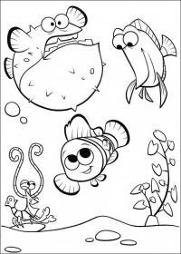Рыбки и краб, раздувшаяся как шар рыбка Раскраски для девочек распечатать