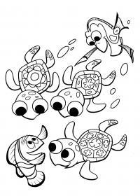 Рыбки и черепашки Раскраски для девочек распечатать