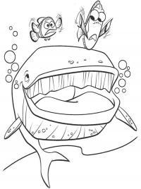 Рыбки и кит Раскраски для девочек распечатать