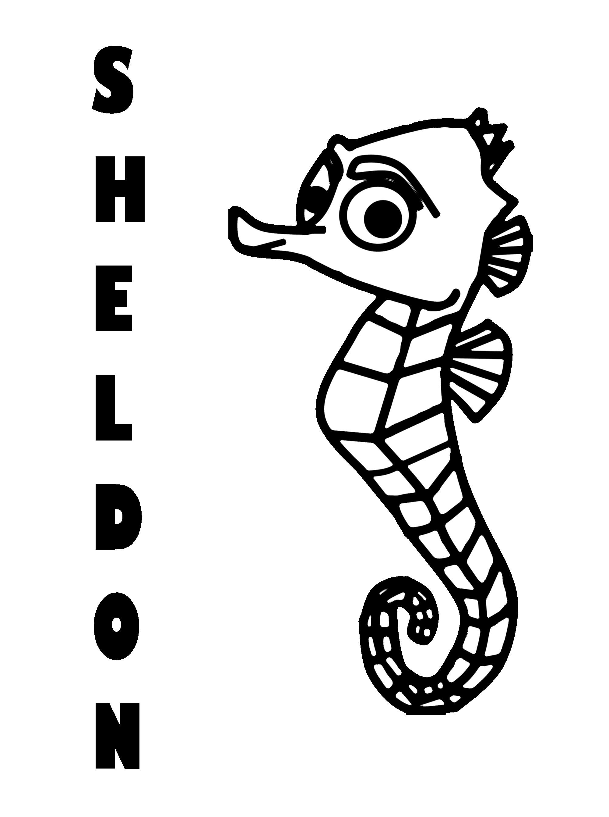 Шелдон, морской конек Раскраски для девочек распечатать
