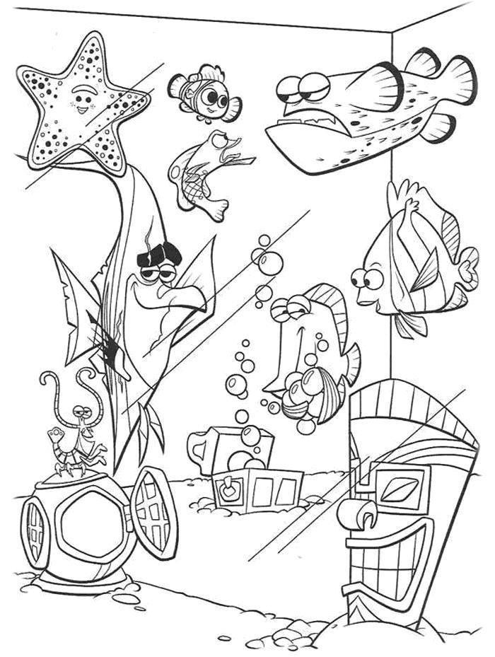 Компания рыбок в аквариуме Раскраски для девочек распечатать