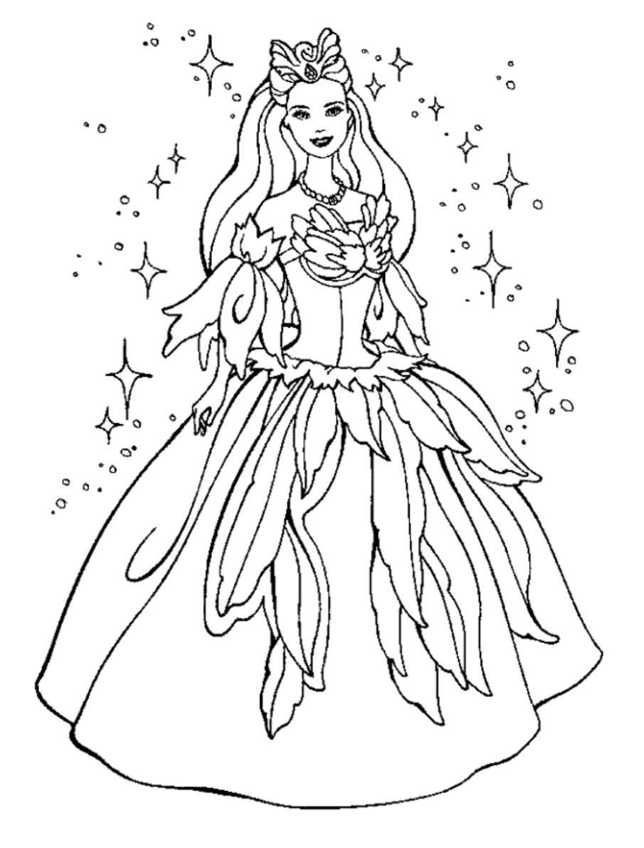 Принцесса лебедь Раскраски цветочки  для девочек