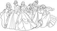 Принцесса диснея Раскраски для девочек распечатать