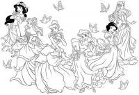 Принцессы из диснеевских мультфильмов Раскраски для девочек распечатать