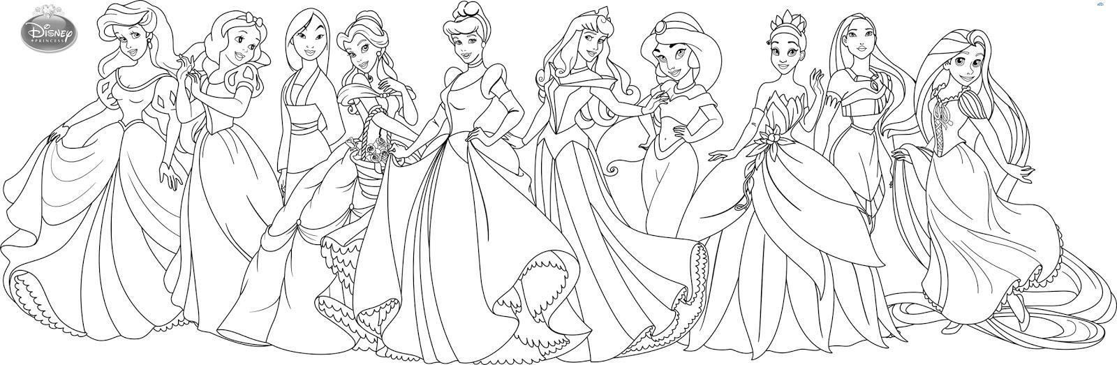Десять принцесс диснея Раскраски для девочек распечатать