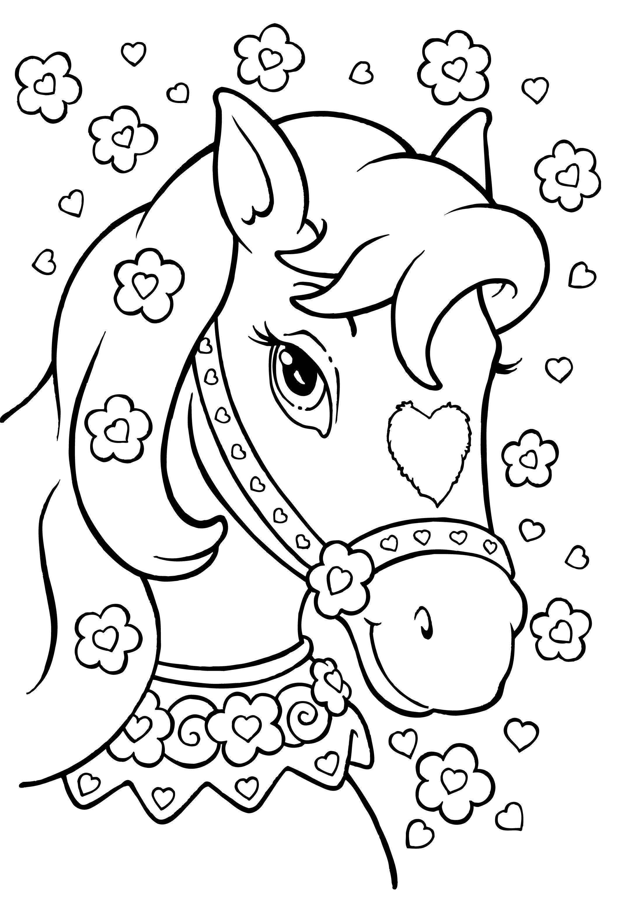 Лошадь с сердечком на мордочке Раскраски для девочек бесплатно