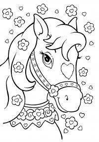 Лошадь с сердечком на мордочке Раскраски с чудесными цветами