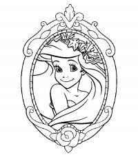 Отражение русалочки в зеркале Раскраски с цветами распечатать бесплатно