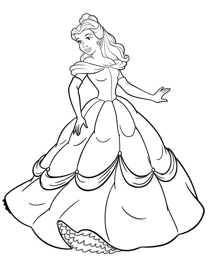 Принцесса в пышном платье Раскраски для девочек распечатать