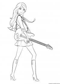 Барби музыкант Раскраски для девочек бесплатно