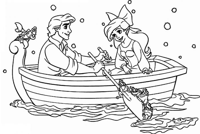 Принцесса  принц в лодке Найти раскраски цветов