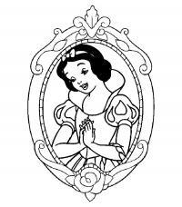 Отражение белоснежки в зеркале Раскраски для девочек бесплатно