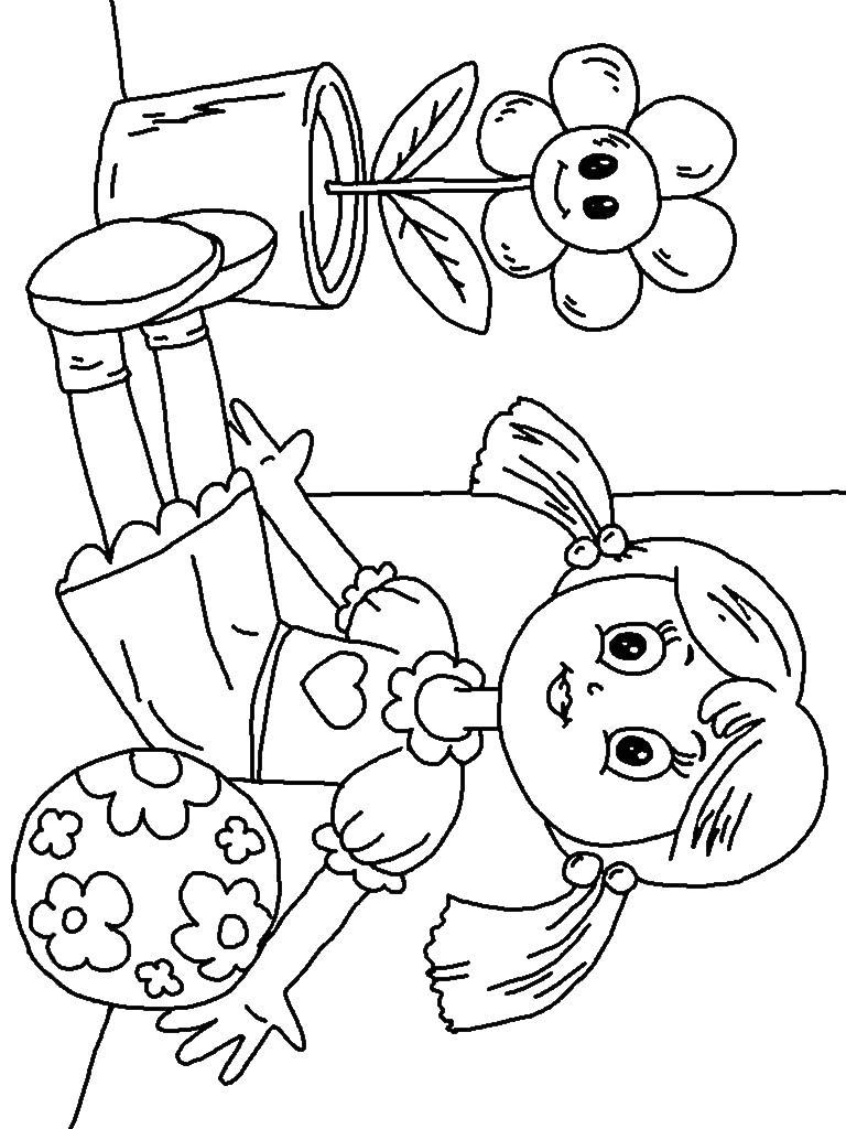 Кукла на окне Раскраски для девочек онлайн