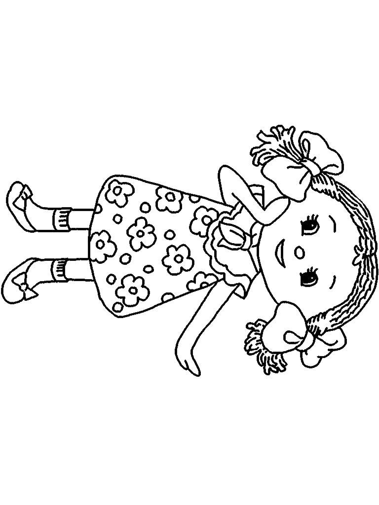 Кукла в платье в цветочек Раскраски для девочек онлайн