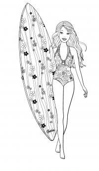 Оригинальный купальник барби Раскраски для девочек бесплатно