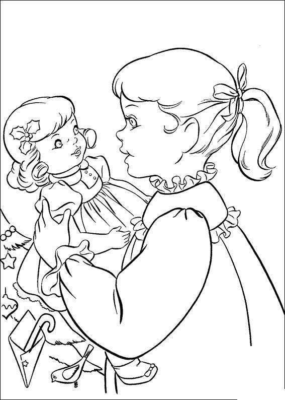 Девочка с куклой возле елки Раскраски для девочек онлайн