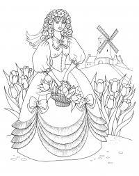 Деревенское платье Раскраски для девочек распечатать