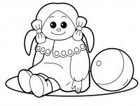 Кукла с мячиком Раскраски для девочек онлайн