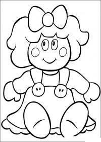 Кукла в платье с большими пуговицами Раскраски для девочек онлайн