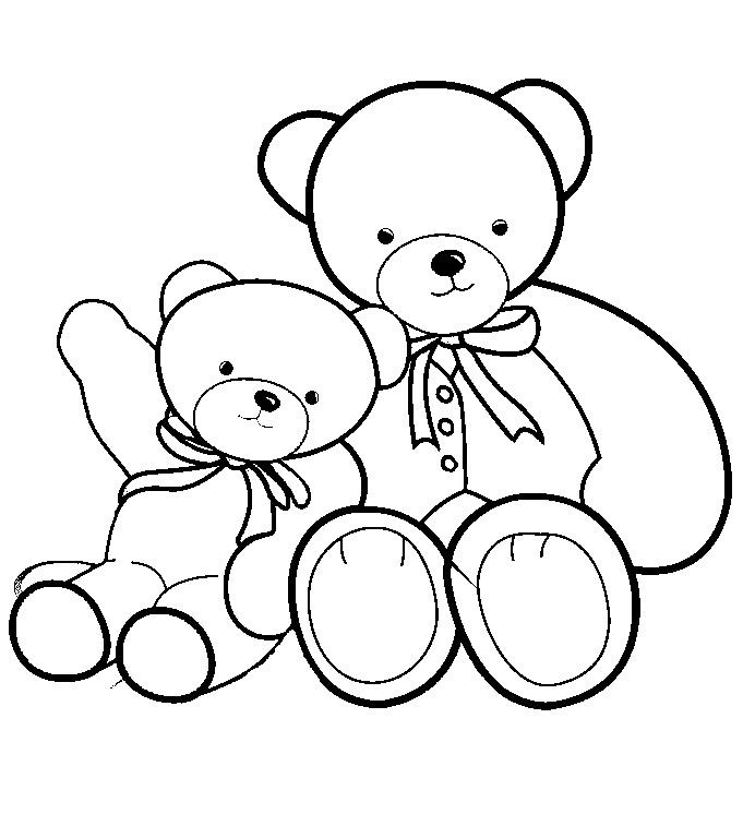 Плюшевые мишки Раскраски для девочек распечатать