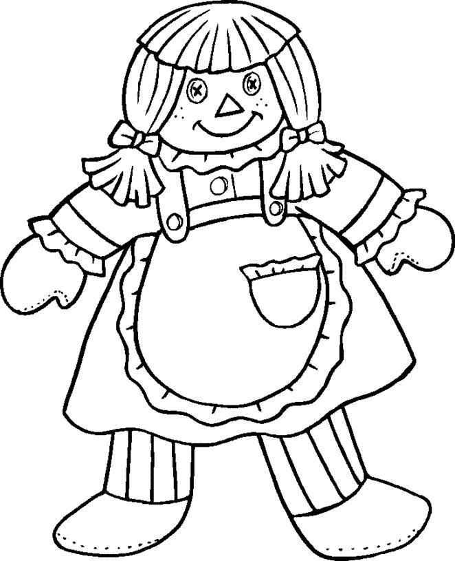 Сшитая кукла Раскраски для девочек онлайн