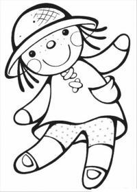 Тряпочная кукла в шляпе Раскраски для девочек онлайн