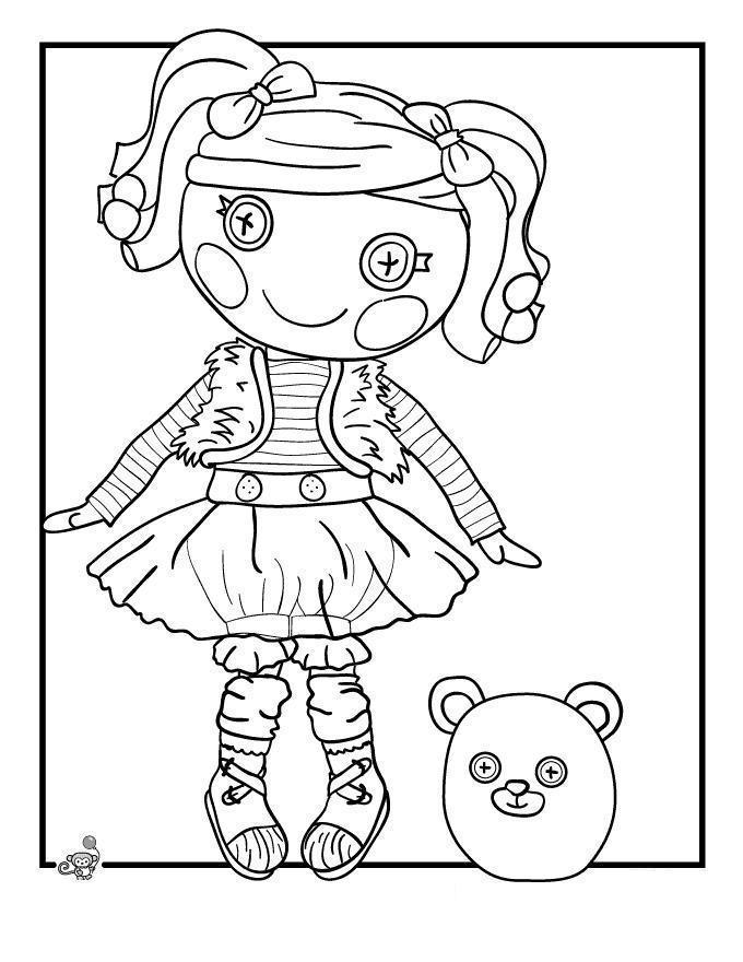 Кукла с хвостиками и глазами пуговками с мишкой Раскраски для девочек онлайн