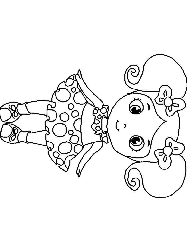 Кукла с хвостиками Раскраски для девочек онлайн