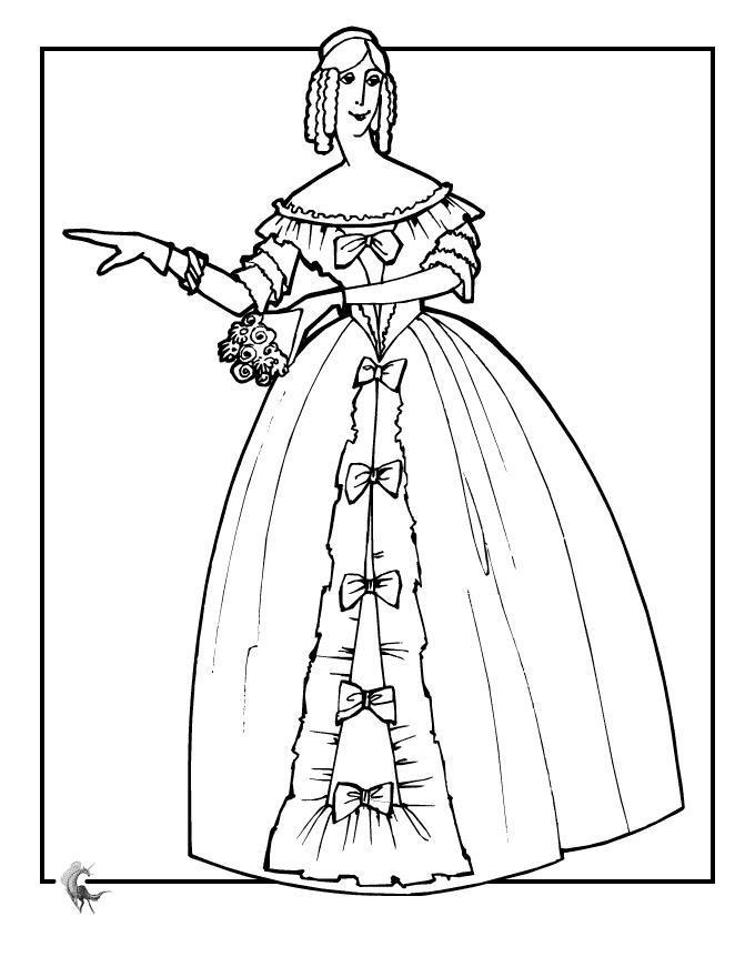 Кукла в платье с бантами Раскраски для девочек онлайн