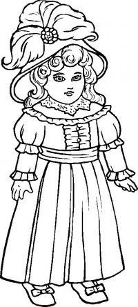 Кукла в шляпе с перьями Раскраски для девочек онлайн
