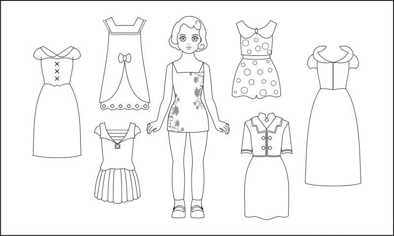 Кукла и одежда Раскраски для девочек распечатать