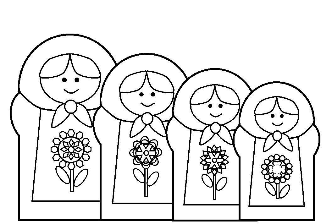 Кукла матрешка Раскраски детские с цветами