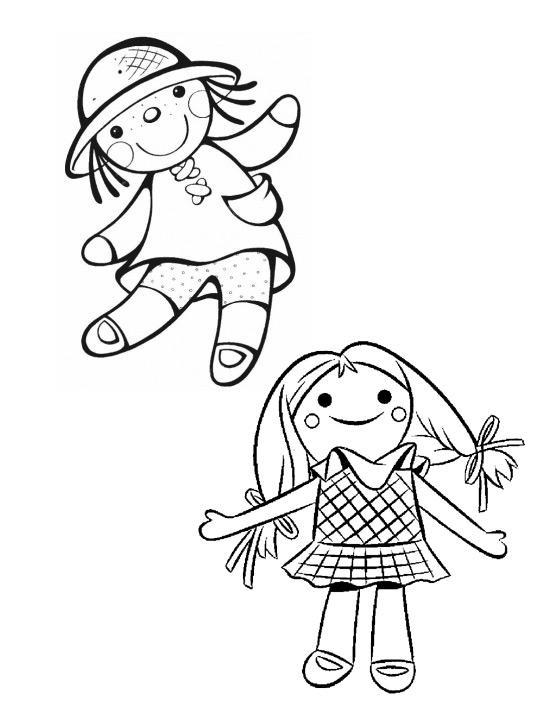 Кукла в шляпе и кукла схвостиками Раскраски детские с цветами