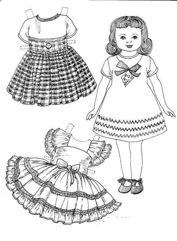 Красивая одежда для бумажной куклы Раскраски для девочек распечатать