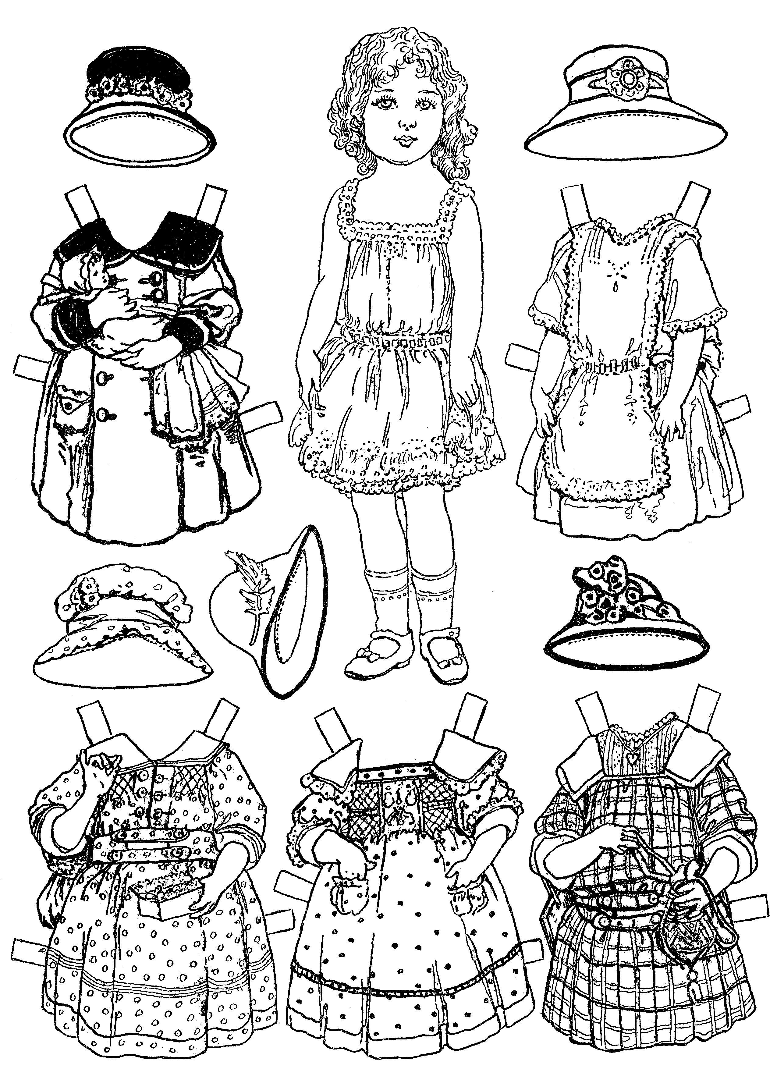 Кукла и платья для куклы Раскраски для девочек распечатать