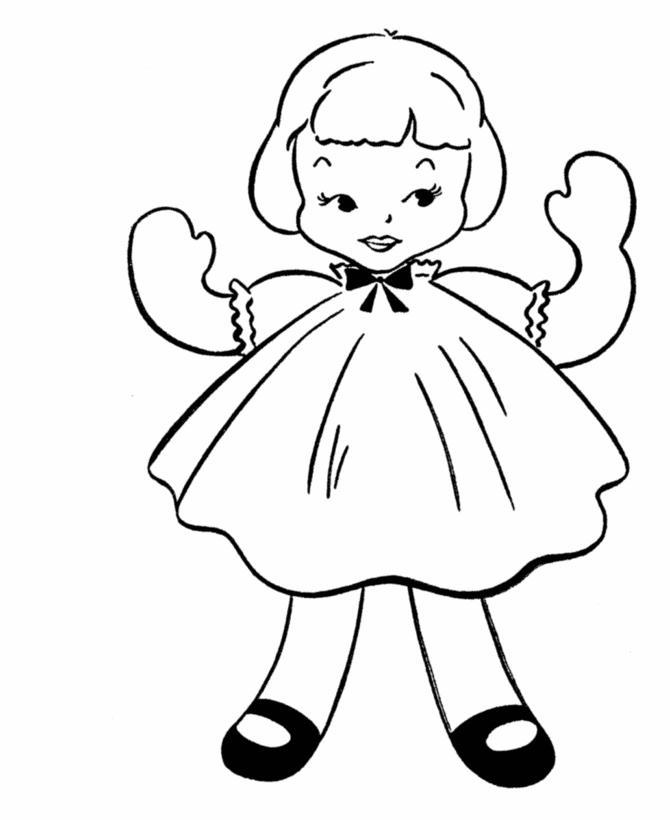 Кукла с короткими волосами Раскраски для девочек онлайн
