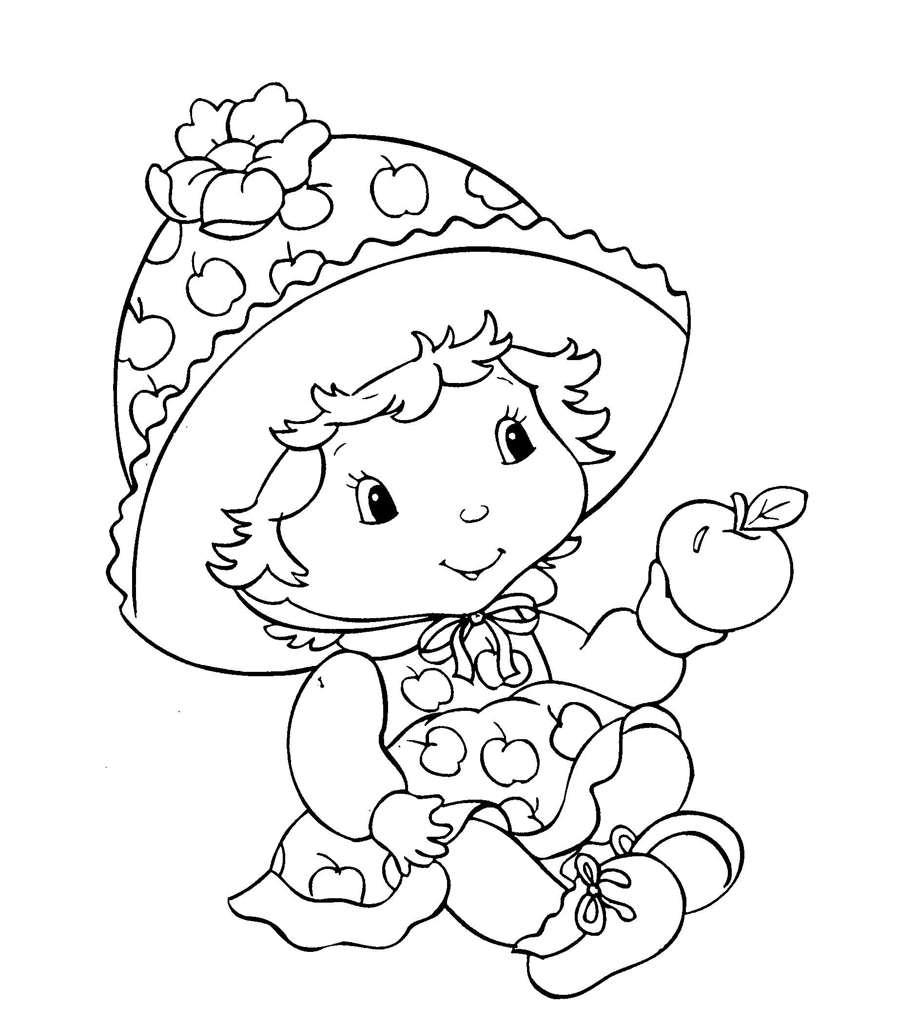 Кукла в панаме и платье в яблочко с яблоком Раскраски для девочек онлайн