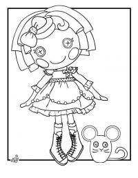 Сшитая кукла с глазами поговками и мышкой Раскраски для девочек онлайн