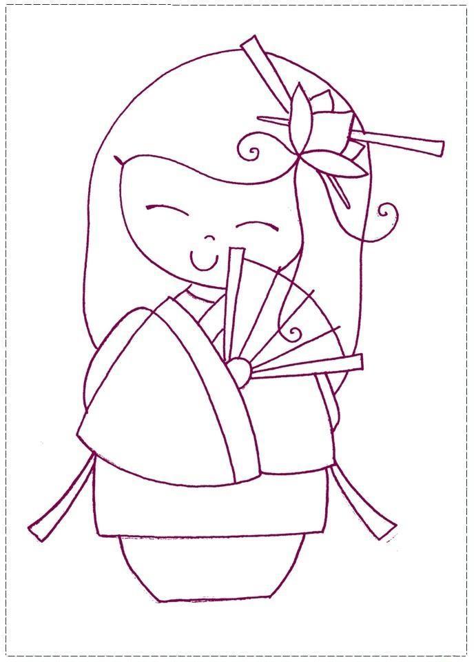 Японская кукла Раскраски для девочек онлайн