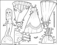 Одень куклу в красивые платья Раскраски для девочек распечатать
