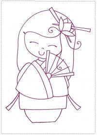 Японская кукла Раскраски детские с цветами