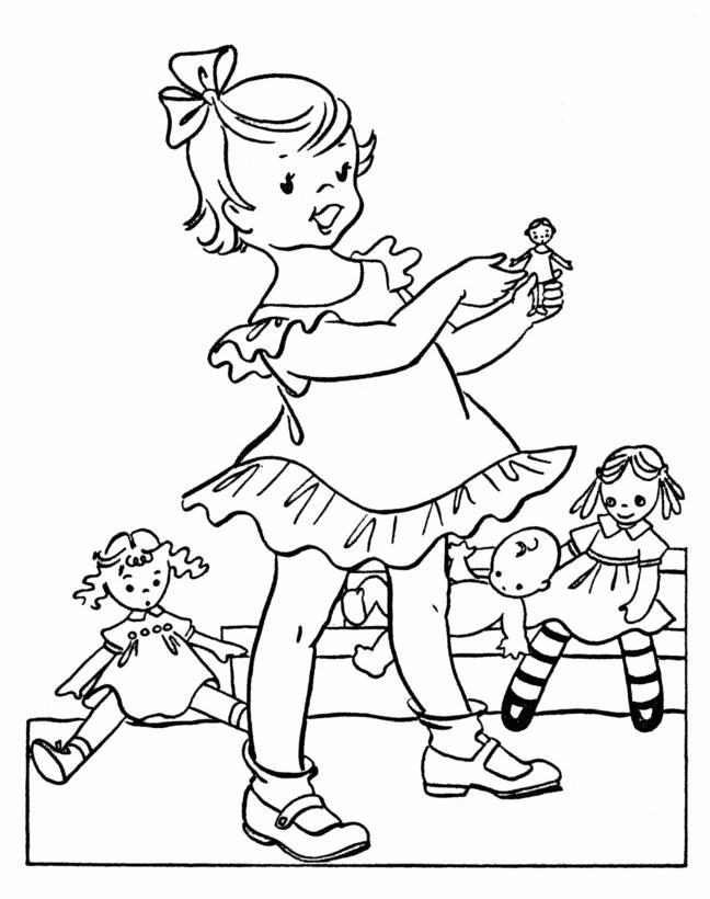 Девочка играет с куклами в комнате Раскраски для девочек бесплатно