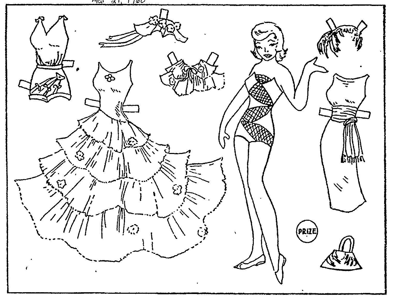 Красивые платья и другая одежда для куклы Раскраски для девочек распечатать