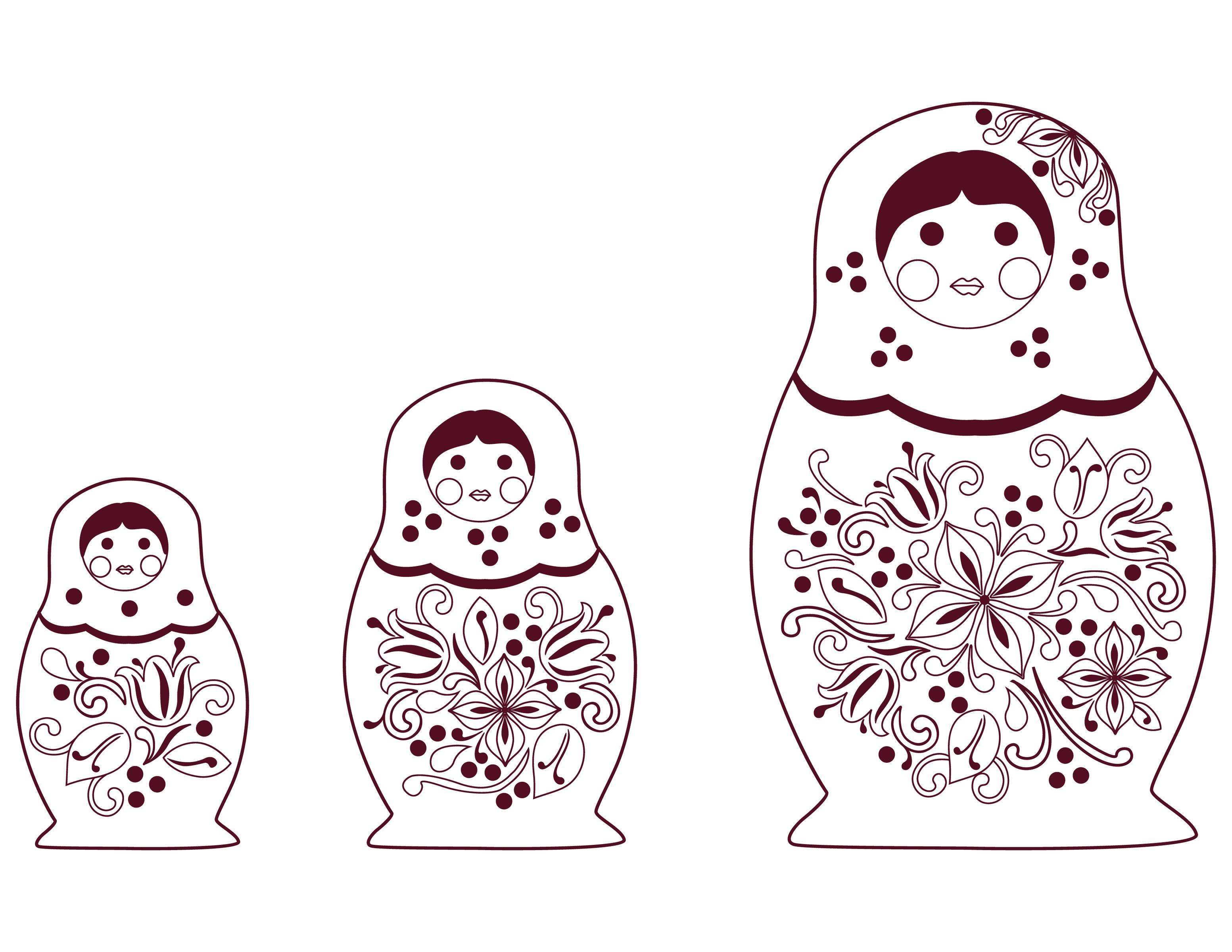 Расписные матрешки Раскраски для девочек онлайн